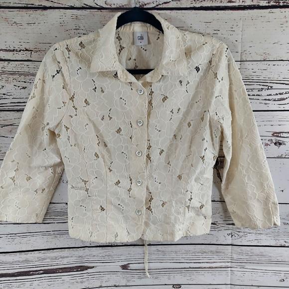 CAbi Jackets & Blazers - Cabi cropped lace inset portrait jacket ivory M